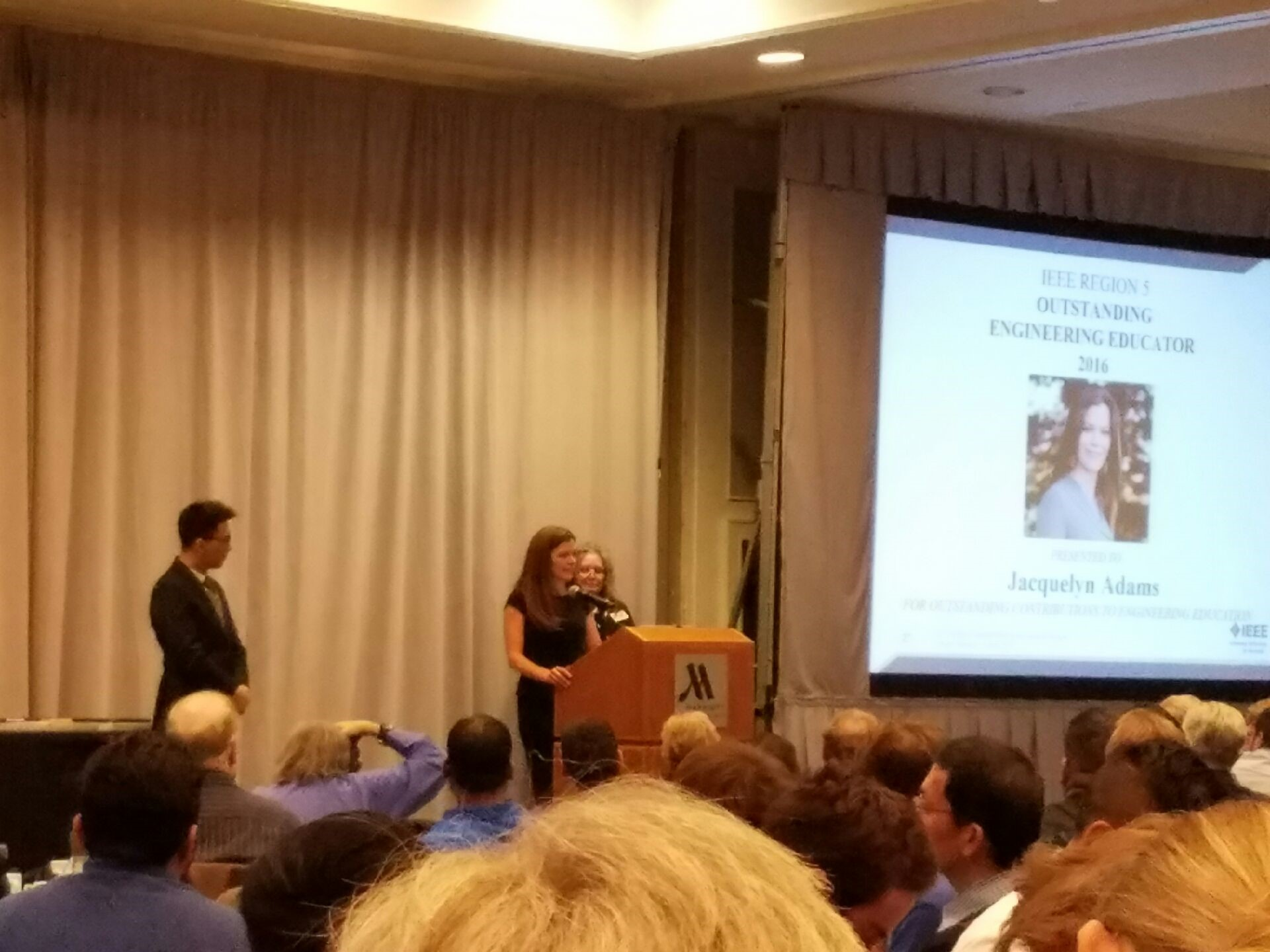 Jackie giving her acceptance speech at the IEEE Awards Banquet on April 1st, 2017.